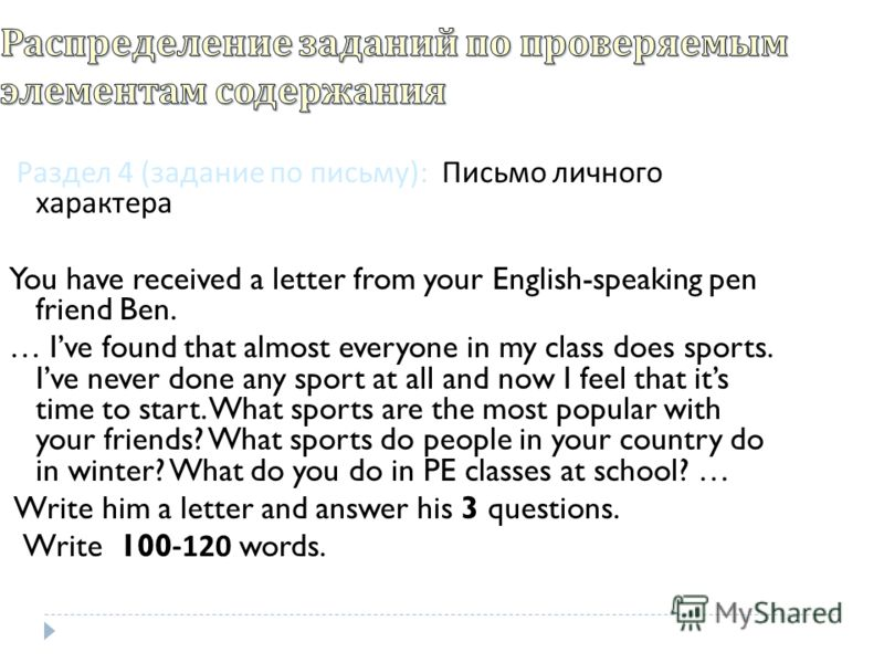 Раздел 4 ( задание по письму ): Письмо личного характера You have received a letter from your English-speaking pen friend Ben. … Ive found that almost everyone in my class does sports. Ive never done any sport at all and now I feel that its time to s