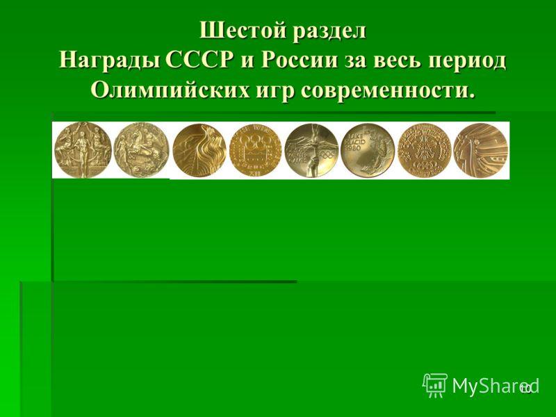 Пятый раздел Россия на первых Олимпийских играх современности. 9 РоссияРоссия принимала участие в 16 летних и 14 зимних Олимпийских играх, но представляла при этом разные государства:Российскую империю, СССР и Российскую Федерацию. На летних Олимпийс