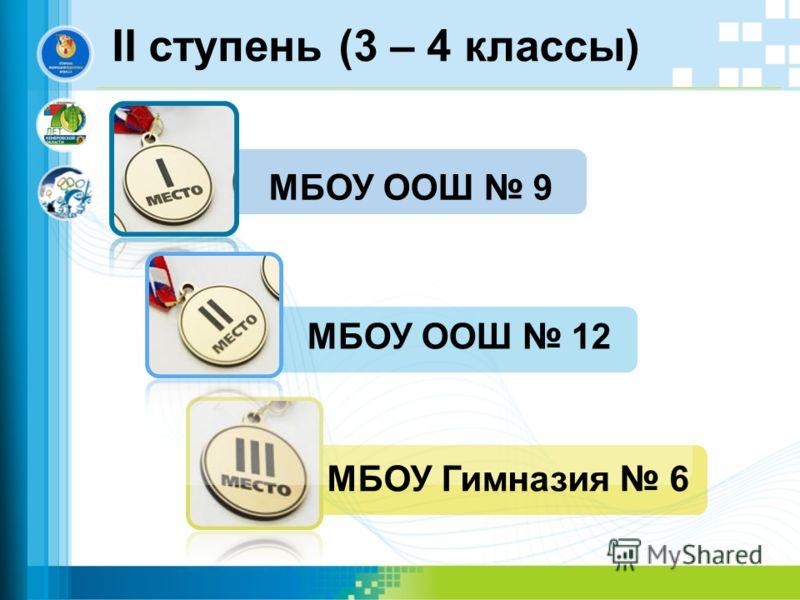 II ступень (3 – 4 классы) МБОУ ООШ 9 МБОУ Гимназия 6 МБОУ ООШ 12
