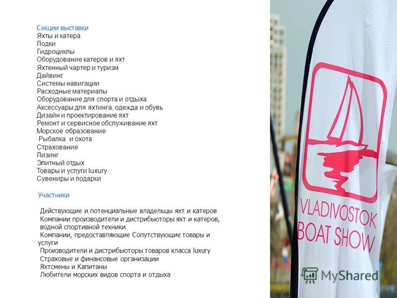 Секции выставки Яхты и катера Лодки Гидроциклы Оборудование катеров и яхт Яхтенный чартер и туризм Дайвинг Системы навигации Расходные материалы Оборудование для спорта и отдыха Аксессуары для яхтинга, одежда и обувь Дизайн и проектирование яхт Ремон