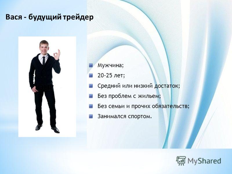 Вася - будущий трейдер Мужчина; 20-25 лет; Средний или низкий достаток; Без проблем с жильем; Без семьи и прочих обязательств; Занимался спортом.