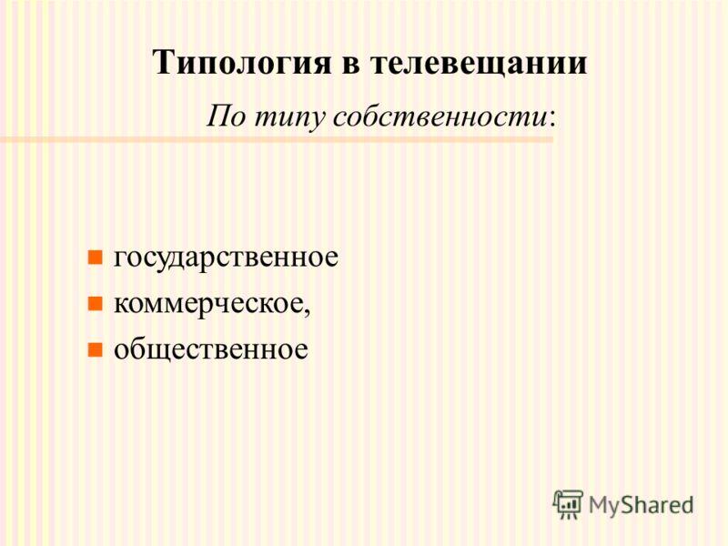 Типология в телевещании По типу собственности: государственное коммерческое, общественное