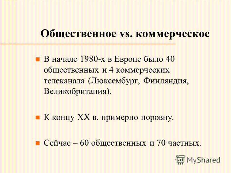 Общественное vs. коммерческое В начале 1980-х в Европе было 40 общественных и 4 коммерческих телеканала (Люксембург, Финляндия, Великобритания). К концу XX в. примерно поровну. Сейчас – 60 общественных и 70 частных.