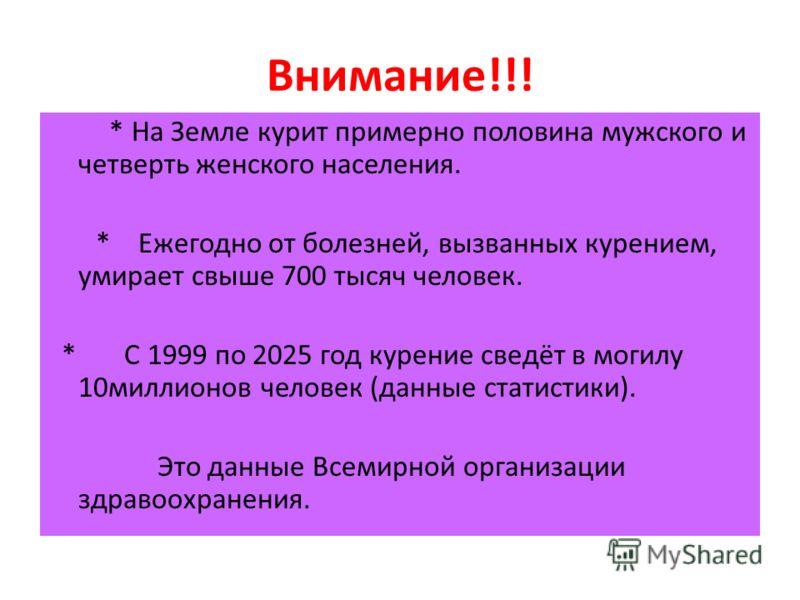 Внимание!!! * На Земле курит примерно половина мужского и четверть женского населения. * Ежегодно от болезней, вызванных курением, умирает свыше 700 тысяч человек. * С 1999 по 2025 год курение сведёт в могилу 10миллионов человек (данные статистики).