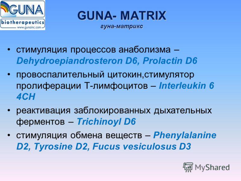 GUNA- MATRIX гуна-матрикс стимуляция процессов анаболизма – Dehydroepiandrosteron D6, Prolactin D6 провоспалительный цитокин,стимулятор пролиферации Т-лимфоцитов – Interleukin 6 4CH реактивация заблокированных дыхательных ферментов – Trichinoyl D6 ст
