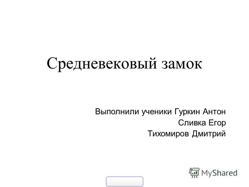 Средневековый замок Выполнили ученики Гуркин Антон Сливка Егор Тихомиров Дмитрий