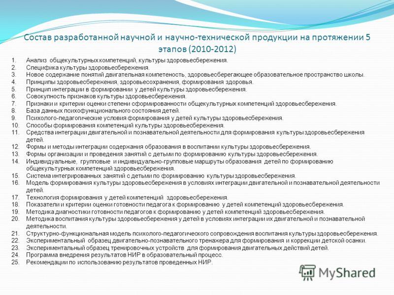 Состав разработанной научной и научно-технической продукции на протяжении 5 этапов (2010-2012) 1.Анализ общекультурных компетенций, культуры здоровьесбережения. 2.Специфика культуры здоровьесбережения. 3.Новое содержание понятий двигательная компетен