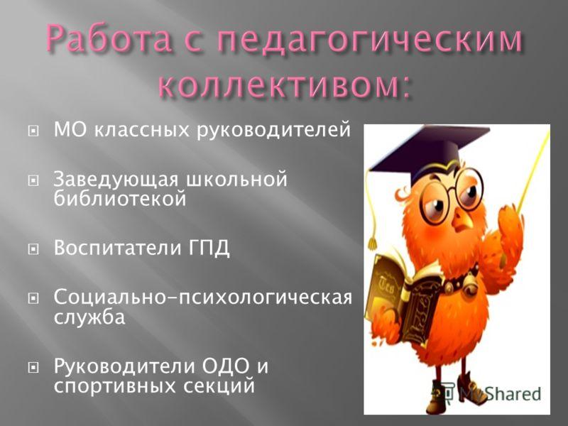 МО классных руководителей Заведующая школьной библиотекой Воспитатели ГПД Социально-психологическая служба Руководители ОДО и спортивных секций