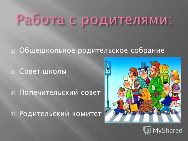 Общешкольное родительское собрание Совет школы Попечительский совет Родительский комитет