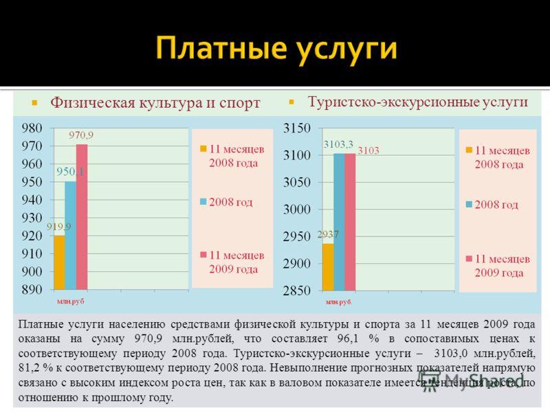 Среднемесячная заработная плата за 11 месяцев 2009 года составляет 532600 рублей, за аналогичный период 2008 года – 491755 рублей, рост заработной платы составляет 8,3%. За 12 месяцев 2009 года выделено средств по отрасли физическая культуры и спорт