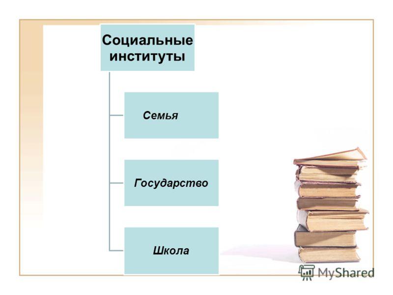Социальные институты Семья Государство Школа