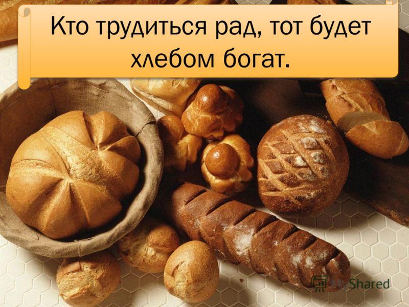 Кто трудиться рад, тот будет хлебом богат.