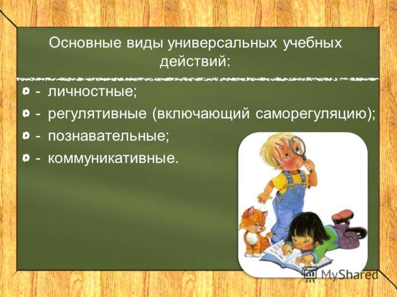 Основные виды универсальных учебных действий: -личностные; -регулятивные (включающий саморегуляцию); -познавательные; -коммуникативные.