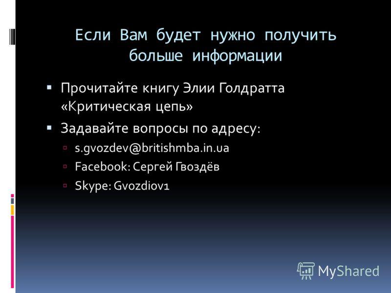 Если Вам будет нужно получить больше информации Прочитайте книгу Элии Голдратта «Критическая цепь» Задавайте вопросы по адресу: s.gvozdev@britishmba.in.ua Facebook: Сергей Гвоздёв Skype: Gvozdiov1