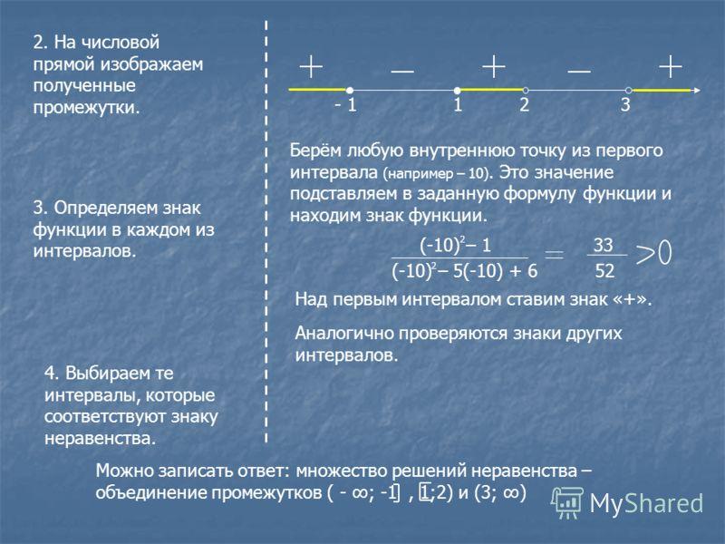 2. На числовой прямой изображаем полученные промежутки. - 1 1 2 3 3. Определяем знак функции в каждом из интервалов. Берём любую внутреннюю точку из первого интервала (например – 10). Это значение подставляем в заданную формулу функции и находим знак