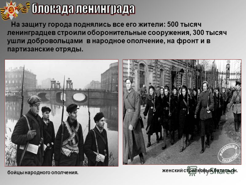 На защиту города поднялись все его жители: 500 тысяч ленинградцев строили оборонительные сооружения, 300 тысяч ушли добровольцами в народное ополчение, на фронт и в партизанские отряды. женский стрелковый батальон. бойцы народного ополчения.