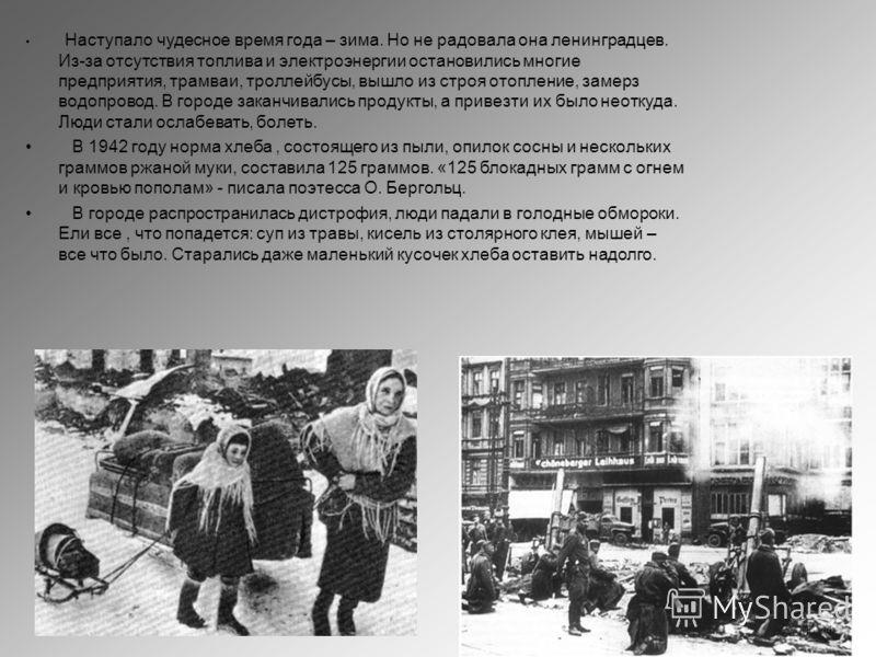Наступало чудесное время года – зима. Но не радовала она ленинградцев. Из-за отсутствия топлива и электроэнергии остановились многие предприятия, трамваи, троллейбусы, вышло из строя отопление, замерз водопровод. В городе заканчивались продукты, а пр