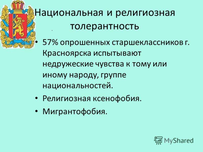 Национальная и религиозная толерантность 57% опрошенных старшеклассников г. Красноярска испытывают недружеские чувства к тому или иному народу, группе национальностей. Религиозная ксенофобия. Мигрантофобия.