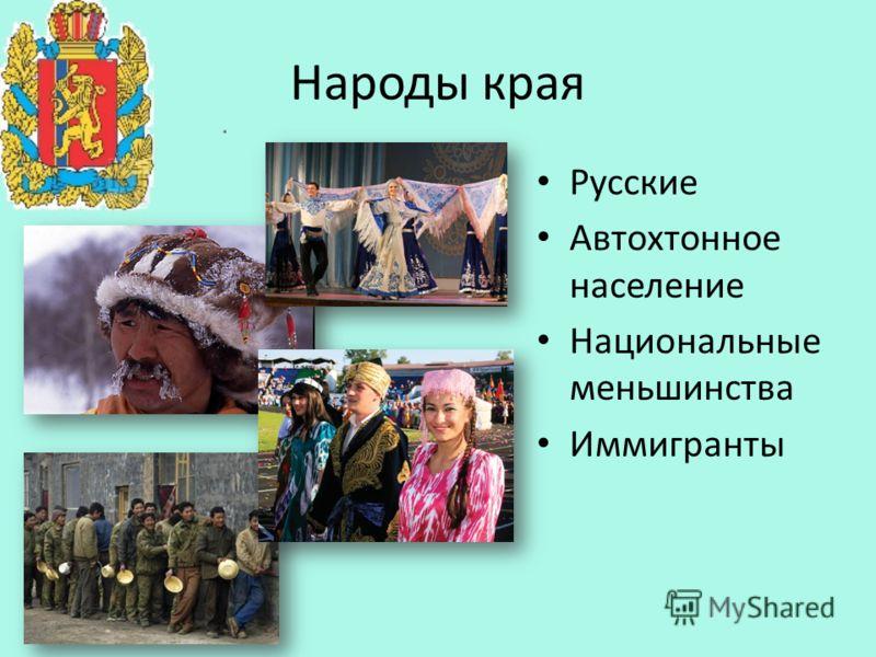 Народы края Русские Автохтонное население Национальные меньшинства Иммигранты