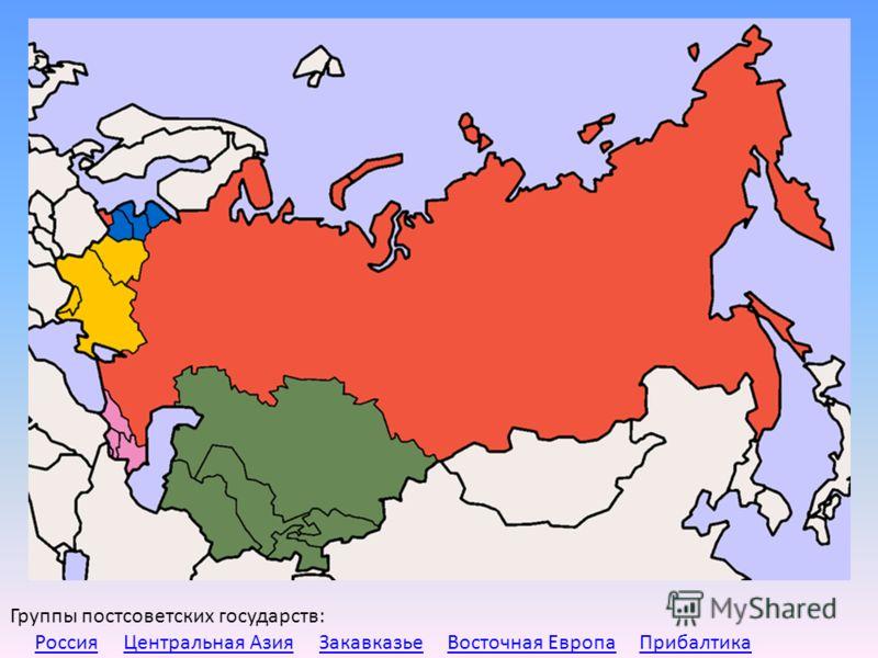 Группы постсоветских государств: Россия Центральная Азия Закавказье Восточная Европа ПрибалтикаРоссияЦентральная АзияЗакавказьеВосточная ЕвропаПрибалтика