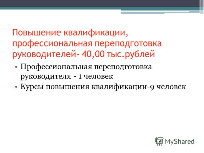 Повышение квалификации, профессиональная переподготовка руководителей- 40,00 тыс.рублей Профессиональная переподготовка руководителя - 1 человек Курсы повышения квалификации-9 человек