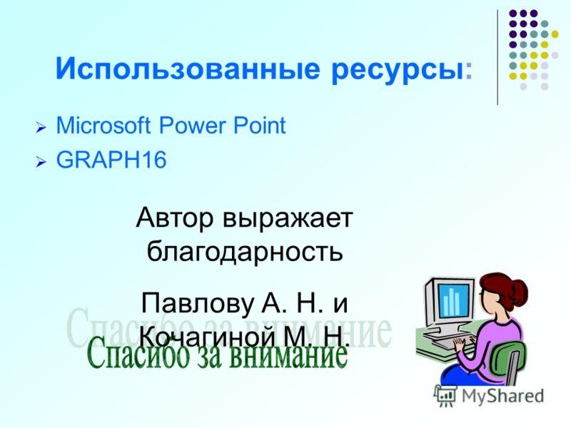 Использованные ресурсы: Microsoft Power Point GRAPH16 Автор выражает благодарность Павлову А. Н. и Кочагиной М. Н.