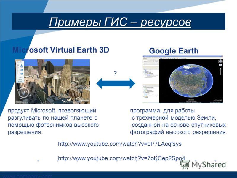 www.company.com Примеры ГИС – ресурсов Microsoft Virtual Earth 3D Google Earth продукт Microsoft, позволяющий разгуливать по нашей планете с помощью фотоснимков высокого разрешения. программа для работы с трехмерной моделью Земли, созданной на основе