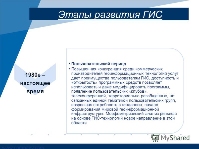 www.company.com Этапы развития ГИС 1980е – настоящее время Пользовательский период Повышенная конкуренция среди коммерческих производителей геоинформационных технологий услуг дает преимущества пользователям ГИС, доступность и «открытость» программных