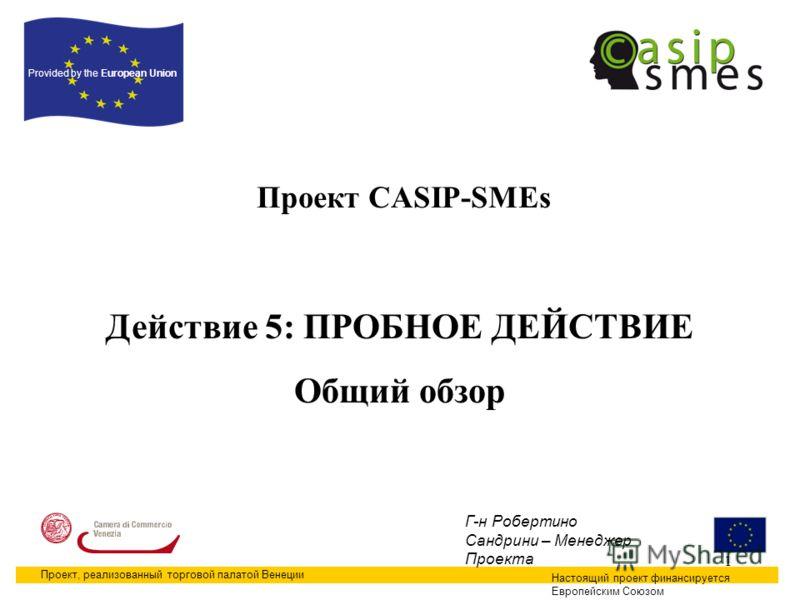 1 Проект CASIP-SMEs Настоящий проект финансируется Европейским Союзом Provided by the European Union Проект, реализованный торговой палатой Венеции Г-н Робертино Сандрини – Менеджер Проекта Действие 5: ПРОБНОЕ ДЕЙСТВИЕ Общий обзор