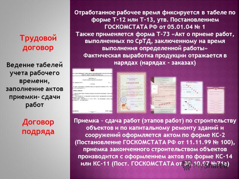 Трудовой договор Договор подряда Ведение табелей учета рабочего времени, заполнение актов приемки- сдачи работ Отработанное рабочее время фиксируется в табеле по форме Т-12 или Т-13, утв. Постановлением ГОСКОМСТАТА РФ от 05.01.04 1 Также применяется