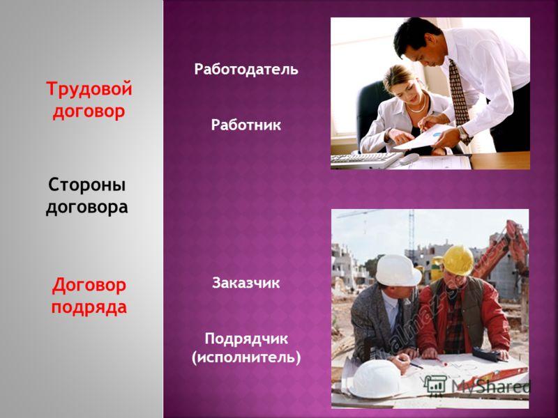 Стороны договора Трудовой договор Договор подряда Работодатель Работник Заказчик Подрядчик (исполнитель)
