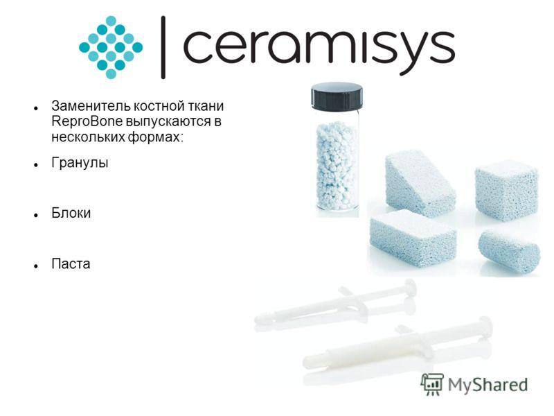 Заменитель костной ткани ReproBone выпускаются в нескольких формах: Гранулы Блоки Паста