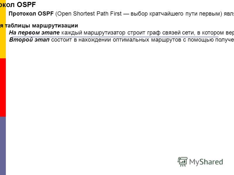 Протокол OSPF Протокол OSPF (Open Shortest Path First выбор кратчайшего пути первым) является достаточно современной реализацией алгоритма состояния связей (он принят в 1991 году) и обладает многими особенностями, ориентированными на применение в бол