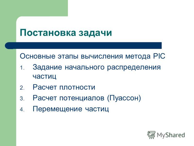 Постановка задачи Основные этапы вычисления метода PIC 1. Задание начального распределения частиц 2. Расчет плотности 3. Расчет потенциалов (Пуассон) 4. Перемещение частиц