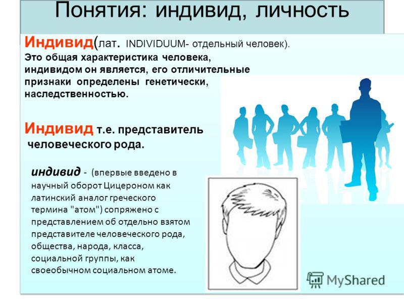 Понятия: индивид, личность Индивид( лат. INDIVIDUUM- отдельный человек). Это общая характеристика человека, индивидом он является, его отличительные признаки определены генетически, наследственностью. Индивид т.е. представитель человеческого рода. Ин