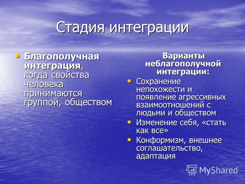 Стадия интеграции Благополучная интеграция, когда свойства человека принимаются группой, обществом Благополучная интеграция, когда свойства человека принимаются группой, обществом Варианты неблагополучной интеграции: Варианты неблагополучной интеграц