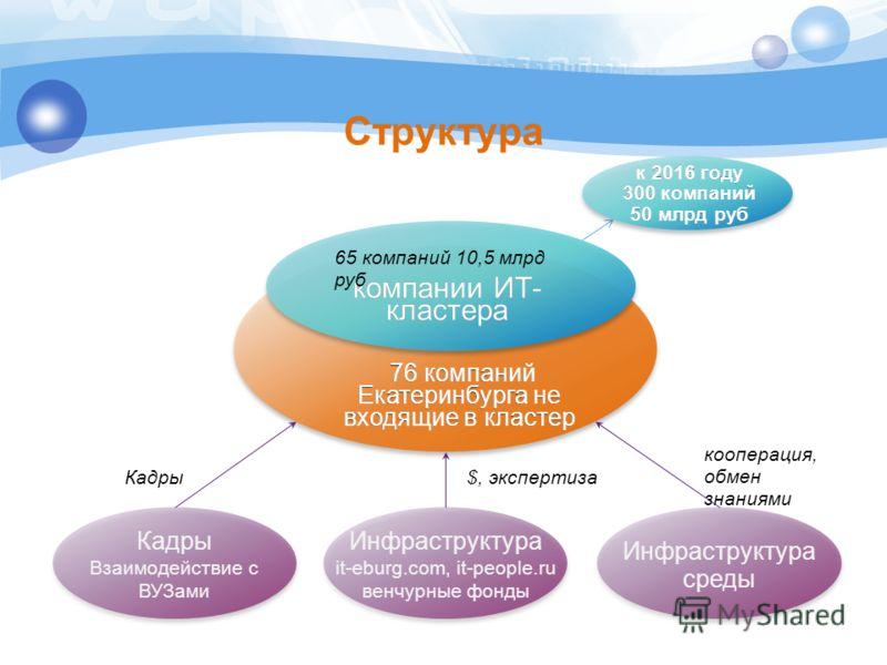 Структура компании ИТ- кластера 76 компаний Екатеринбурга не входящие в кластер Инфраструктура it-eburg.com, it-people.ru венчурные фонды Инфраструктура среды Кадры Взаимодействие с ВУЗами кооперация, обмен знаниями $, экспертизаКадры 65 компаний 10,