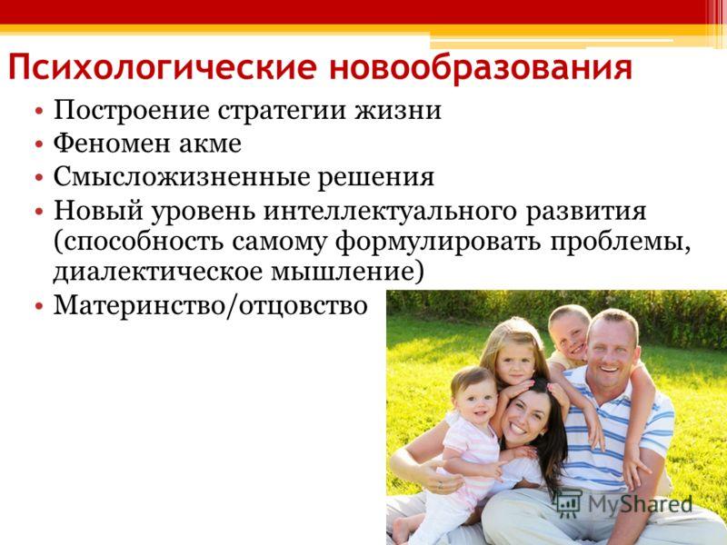 Психологические новообразования Построение стратегии жизни Феномен акме Смысложизненные решения Новый уровень интеллектуального развития (способность самому формулировать проблемы, диалектическое мышление) Материнство/отцовство