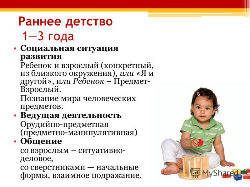 Раннее детство 13 года Социальная ситуация развития Ребенок и взрослый (конкретный, из близкого окружения), или «Я и другой», или Ребенок – Предмет- Взрослый. Познание мира человеческих предметов. Ведущая деятельность Орудийно-предметная (предметно-м