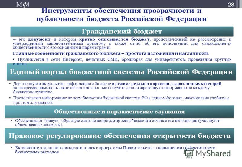М ] ф М ] ф 28 Инструменты обеспечения прозрачности и публичности бюджета Российской Федерации Дает полную и актуальную информацию о бюджете в режиме реального времени для различных категорий заинтересованных пользователей с возможностью получить дет