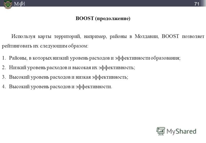 М ] ф М ] ф 71 Используя карты территорий, например, районы в Молдавии, BOOST позволяет рейтинговать их следующим образом: 1.Районы, в которых низкий уровень расходов и эффективности образования; 2.Низкий уровень расходов и высокая их эффективность;