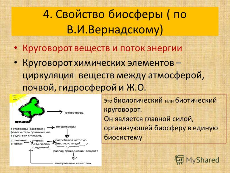 4. Свойство биосферы ( по В.И.Вернадскому) Круговорот веществ и поток энергии Круговорот химических элементов – циркуляция веществ между атмосферой, почвой, гидросферой и Ж.О. Это биологический или биотический круговорот. Он является главной силой, о