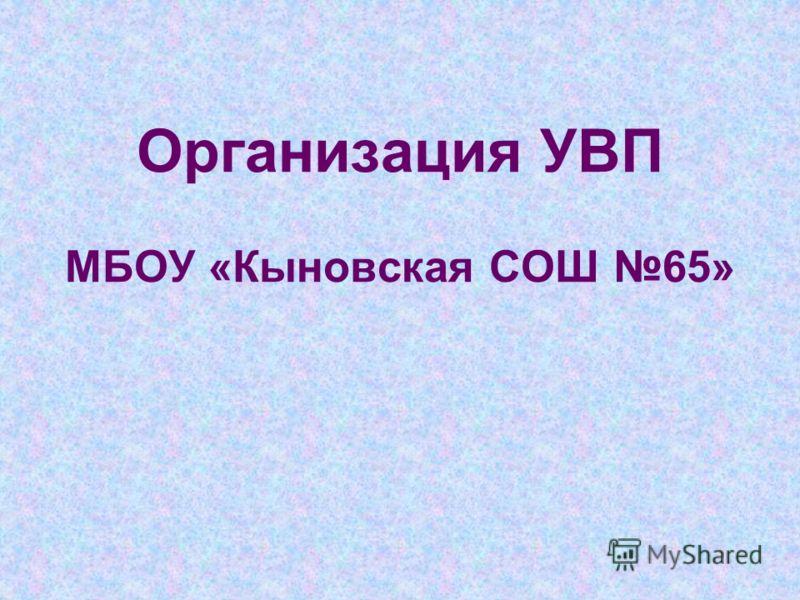 Организация УВП МБОУ «Кыновская СОШ 65»