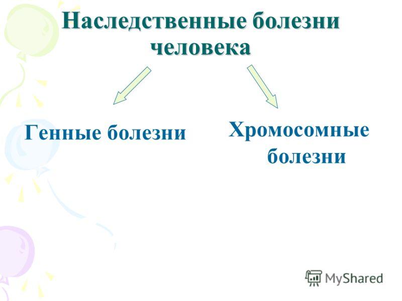 Наследственные болезни человека Генные болезни Хромосомные болезни