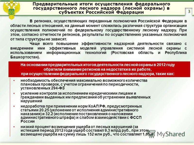 Предварительные итоги осуществления федерального государственного лесного надзора (лесной охраны) в субъектах Российской Федерации 3 В регионах, осуществляющих переданные полномочия Российской Федерации в области лесных отношений, на данный момент сл