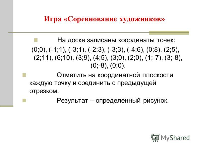 Игра «Соревнование художников» На доске записаны координаты точек: (0;0), (-1;1), (-3;1), (-2;3), (-3;3), (-4;6), (0;8), (2;5), (2;11), (6;10), (3;9), (4;5), (3;0), (2;0), (1;-7), (3;-8), (0;-8), (0;0). Отметить на координатной плоскости каждую точку