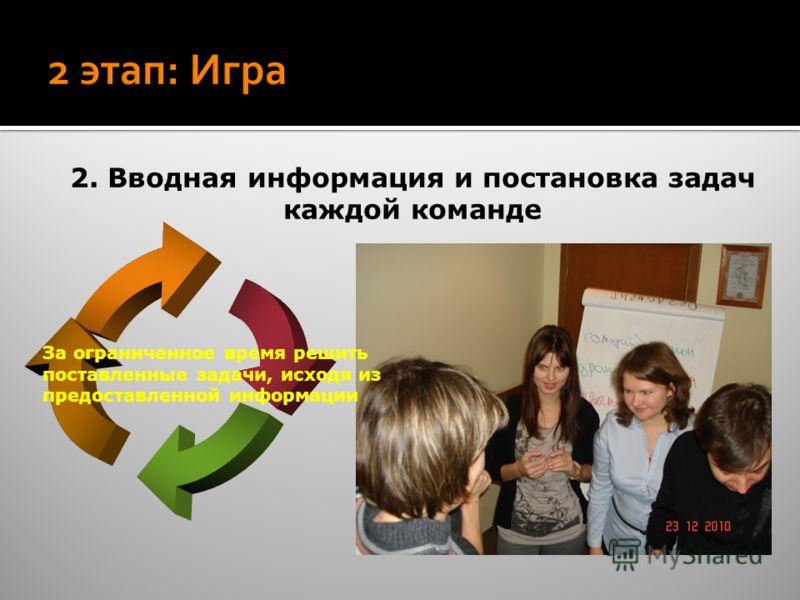 2. Вводная информация и постановка задач каждой команде За ограниченное время решить поставленные задачи, исходя из предоставленной информации