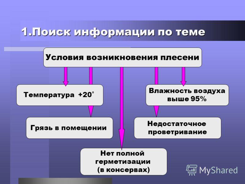 1.Поиск информации по теме Условия возникновения плесени Температура +20˚ Влажность воздуха выше 95% Грязь в помещении Недостаточное проветривание Нет полной герметизации (в консервах)