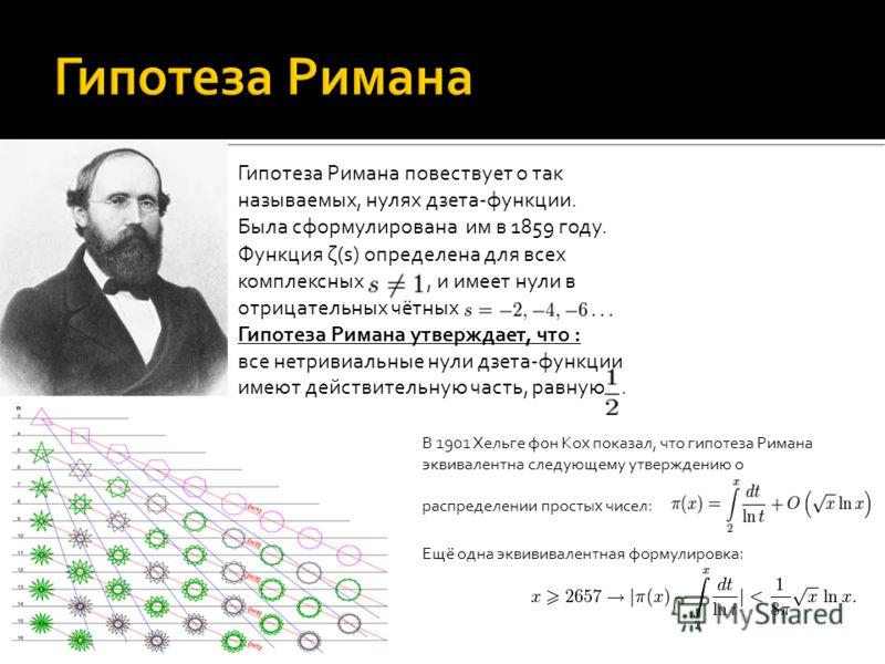 Гипотеза Римана повествует о так называемых, нулях дзета-функции. Была сформулирована им в 1859 году. Функция ζ(s) определена для всех комплексных, и имеет нули в отрицательных чётных Гипотеза Римана утверждает, что : все нетривиальные нули дзета-фун