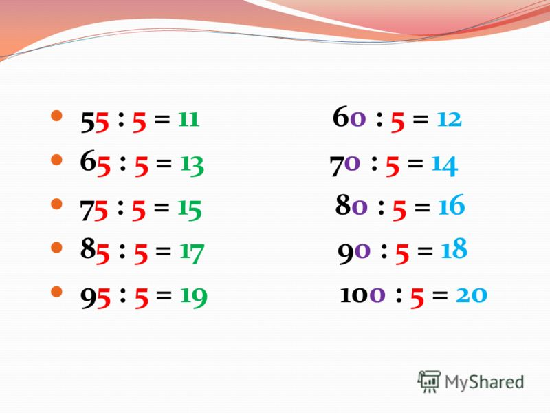 55 : 5 = 11 60 : 5 = 12 65 : 5 = 13 70 : 5 = 14 75 : 5 = 15 80 : 5 = 16 85 : 5 = 17 90 : 5 = 18 95 : 5 = 19 100 : 5 = 20